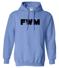 Load image into Gallery viewer, blue FWM hooded sweatshirt for women