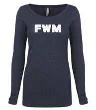 Load image into Gallery viewer, navy FWM long sleeve scoop shirt for women