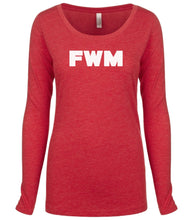 Load image into Gallery viewer, red FWM long sleeve scoop shirt for women