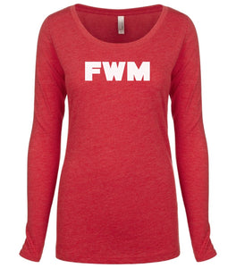 red FWM long sleeve scoop shirt for women