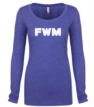 Load image into Gallery viewer, blue FWM long sleeve scoop shirt for women
