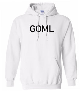 white goml mens pullover hoodie