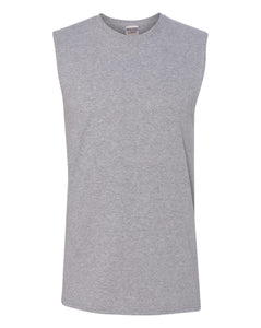 heather grey men's sleeveless t-shirt