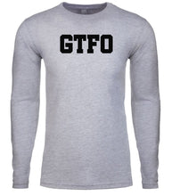 Load image into Gallery viewer, grey gtfo mens long sleeve shirt