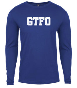 blue gtfo mens long sleeve shirt