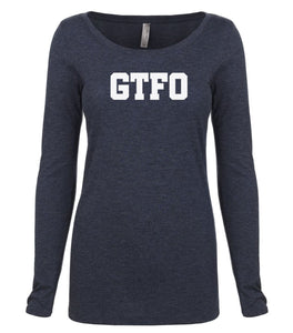 navy GTFO long sleeve scoop shirt for women