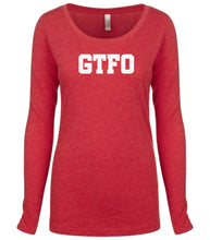 Load image into Gallery viewer, red GTFO long sleeve scoop shirt for women