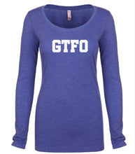 Load image into Gallery viewer, blue GTFO long sleeve scoop shirt for women