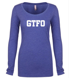 blue GTFO long sleeve scoop shirt for women