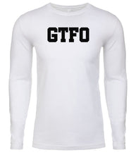 Load image into Gallery viewer, white gtfo mens long sleeve shirt