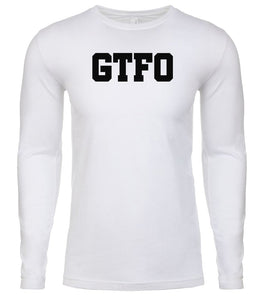 white gtfo mens long sleeve shirt
