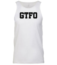 Load image into Gallery viewer, white gtfo mens tank top