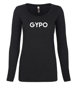 black GYPO long sleeve scoop shirt for women