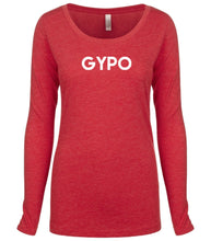 Load image into Gallery viewer, red GYPO long sleeve scoop shirt for women
