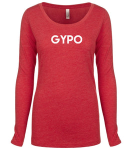 red GYPO long sleeve scoop shirt for women
