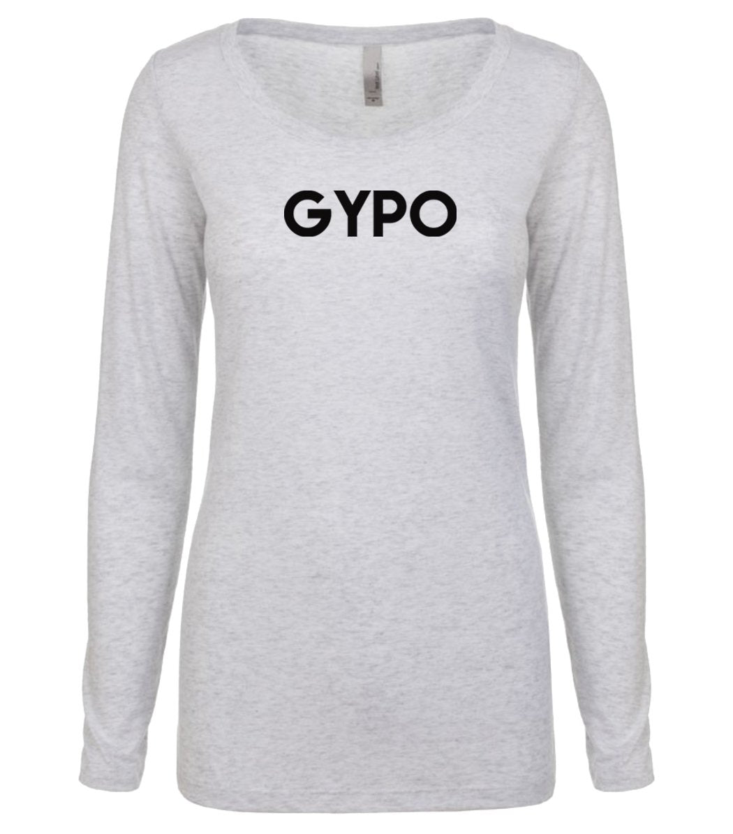 white GYPO long sleeve scoop shirt for women