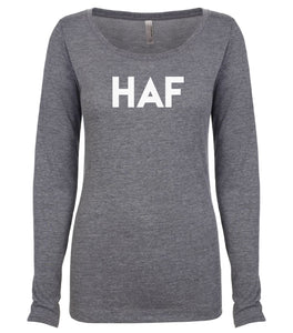 grey HAF long sleeve scoop shirt for women