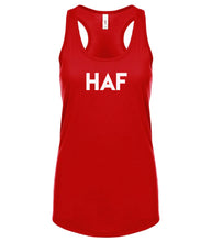 Load image into Gallery viewer, red HAF racerback tank top for women