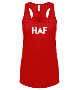 red HAF racerback tank top for women