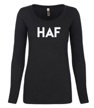 Load image into Gallery viewer, black HAF long sleeve scoop shirt for women