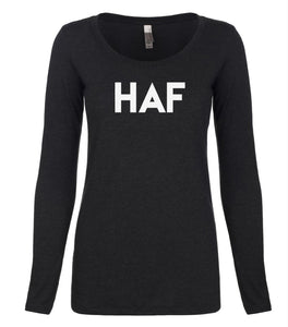 black HAF long sleeve scoop shirt for women