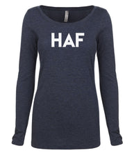 Load image into Gallery viewer, navy HAF long sleeve scoop shirt for women