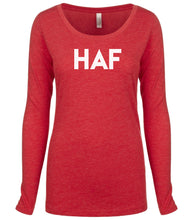 Load image into Gallery viewer, red HAF long sleeve scoop shirt for women