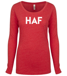 red HAF long sleeve scoop shirt for women