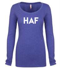 Load image into Gallery viewer, blue HAF long sleeve scoop shirt for women