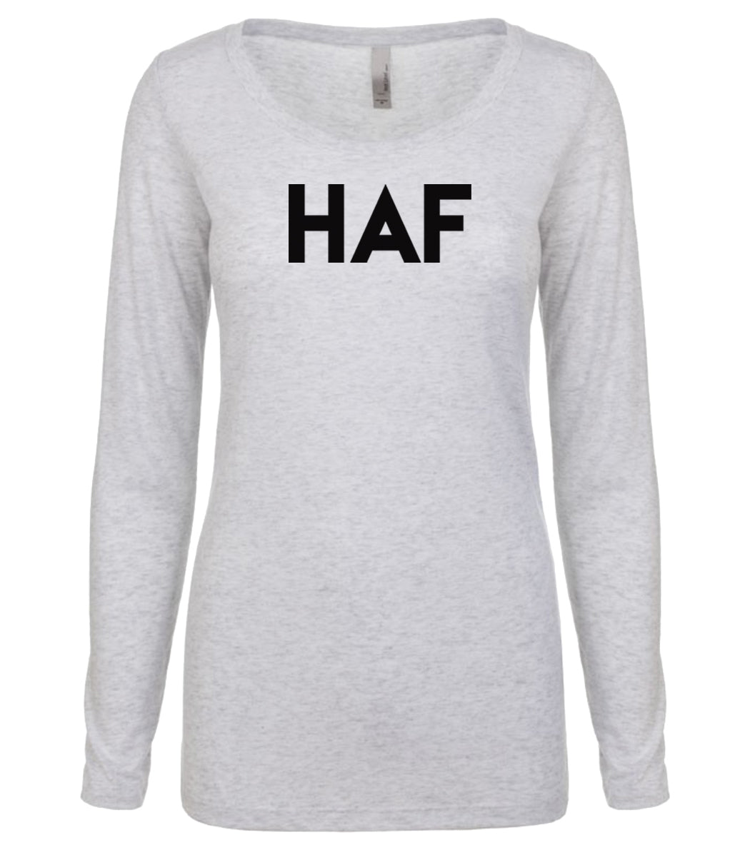 white HAF long sleeve scoop shirt for women
