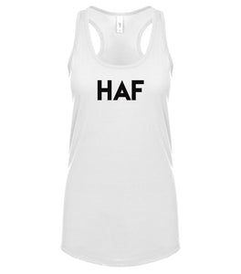 white HAF racerback tank top for women