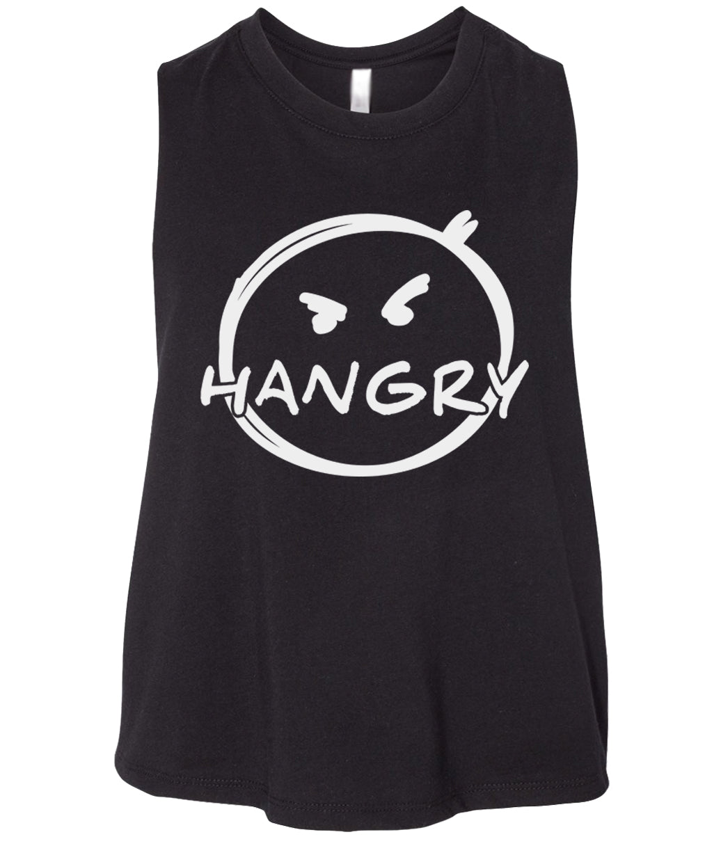 black hangry cropped tank top