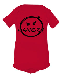 red hangry baby onesie