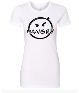 white hangry women's crewneck t shirt