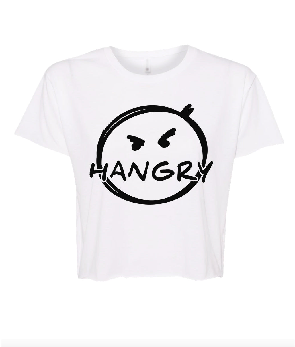 white hangry crop top t shirt