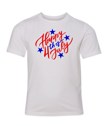 happy fourth of july youth tee shirt