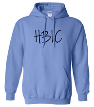 Load image into Gallery viewer, blue HBIC hooded sweatshirt for women