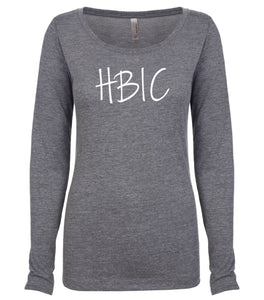 grey HBIC long sleeve scoop shirt for women