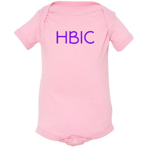 pink HBIC onesie for babies
