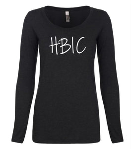 black HBIC long sleeve scoop shirt for women