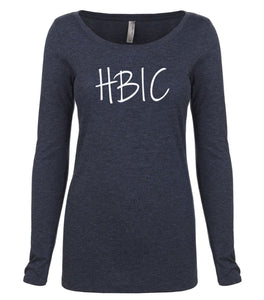 navy HBIC long sleeve scoop shirt for women