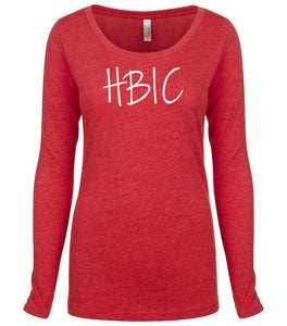 red HBIC long sleeve scoop shirt for women