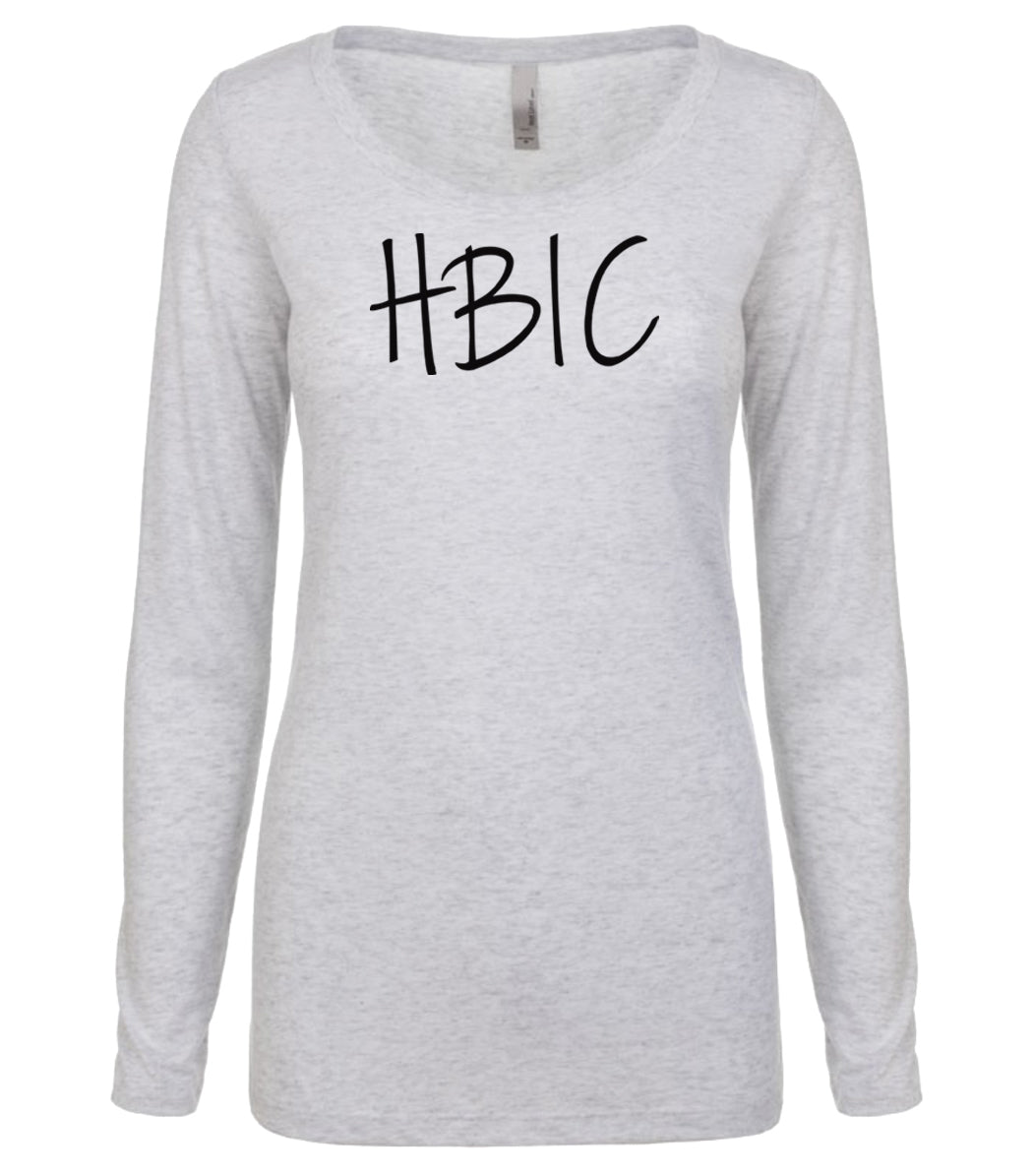 white HBIC long sleeve scoop shirt for women