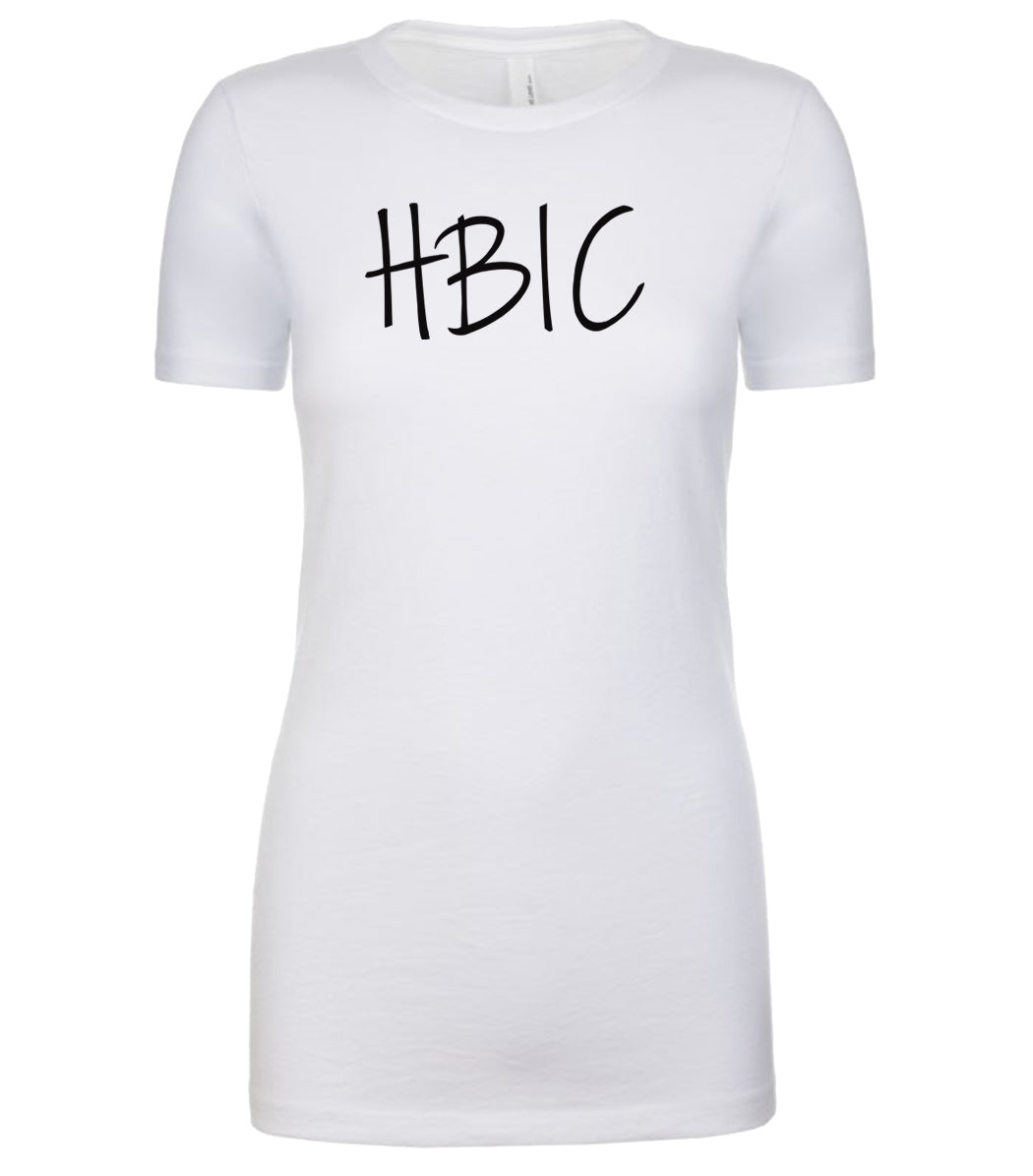 white hbic womens crewneck t shirt