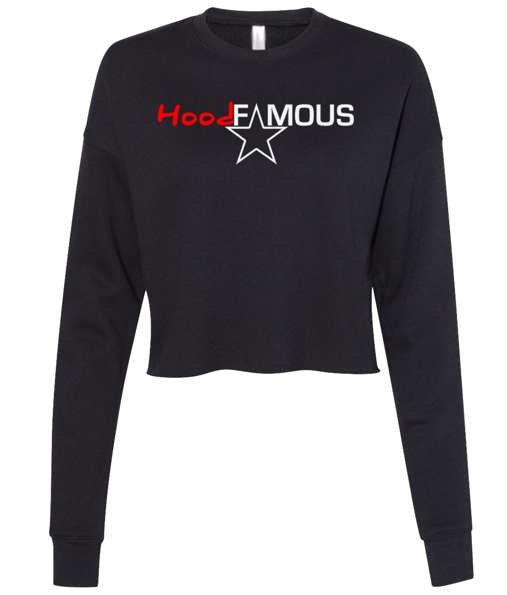 black hood famous cropped sweatshirt