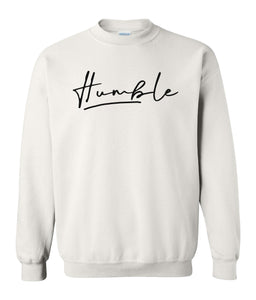 white humble sweatshirt