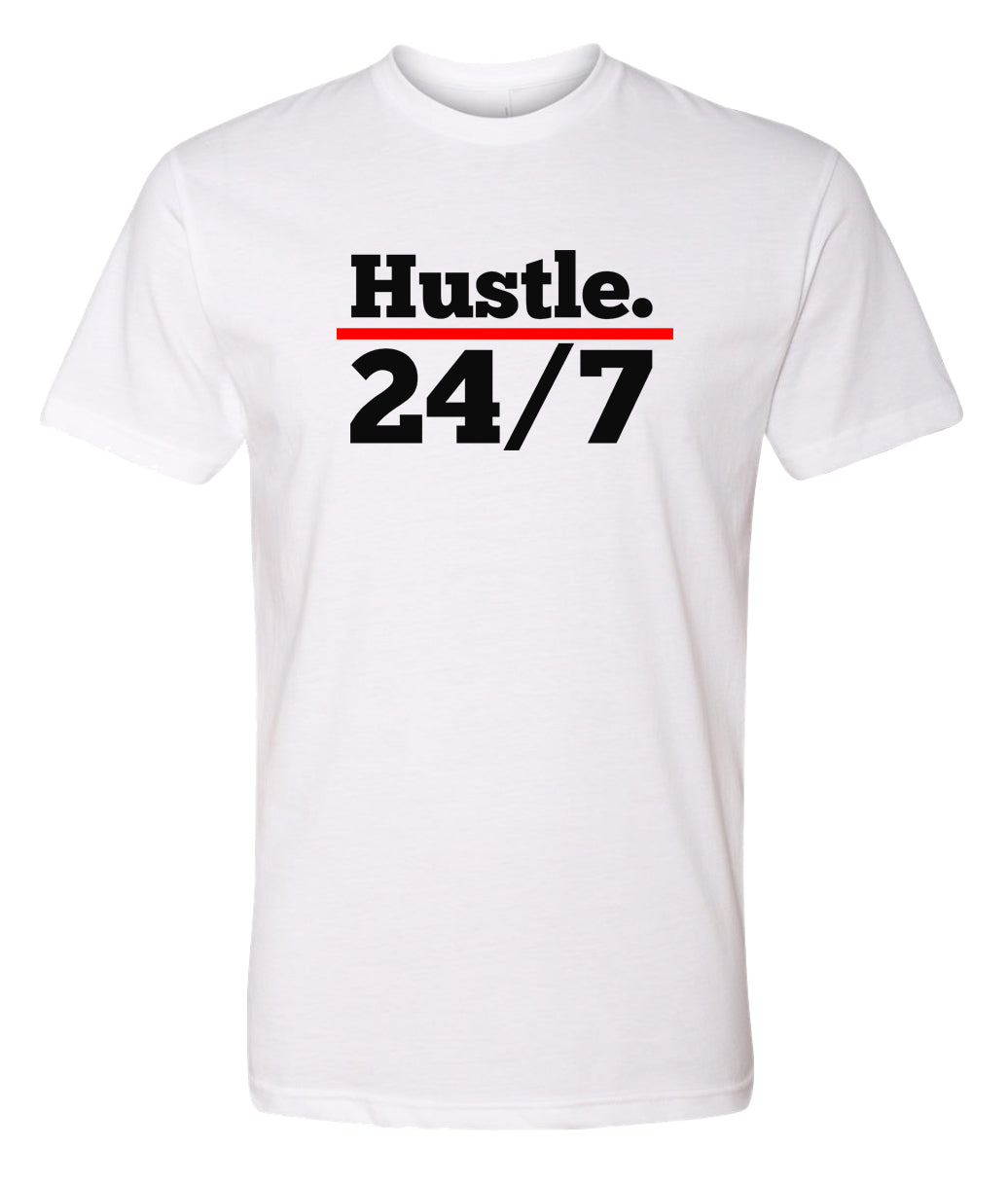 white hustle 24/7 crewneck t shirt