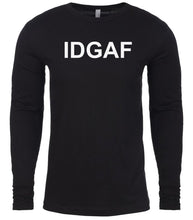 Load image into Gallery viewer, black idgaf mens long sleeve shirt