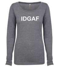 Load image into Gallery viewer, grey IDGAF long sleeve scoop shirt for women