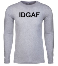 Load image into Gallery viewer, grey idgaf mens long sleeve shirt